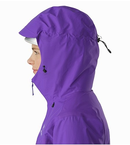 Beta SL Hybrid Jacket Women's Mauveine Helmet Compatible Hood Side View