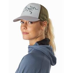 Bird Trucker Hat Antenna Symbiome Delos Grey Front View