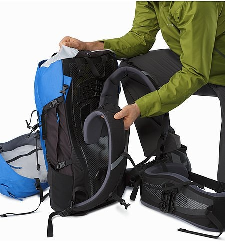 Bora AR 50 Backpack Borneo BlueGridLock Shoulder Straps and RotoGlide Hipbelt