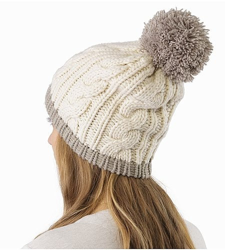 Cable Pom Pom Hat Trillium Fawn Back View
