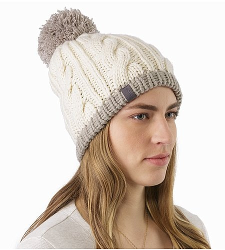 Cable Pom Pom Hat Trillium Fawn Front View