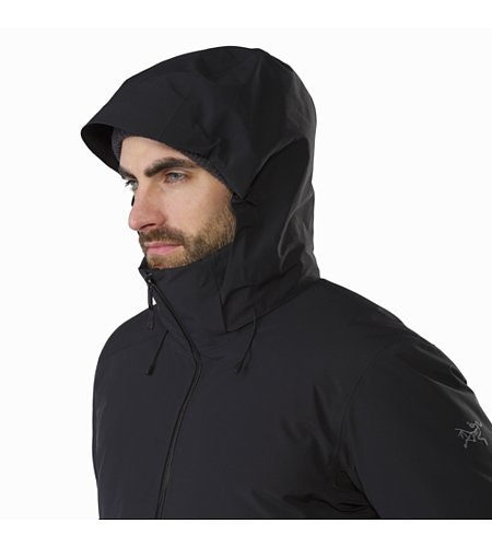 Camosun Parka Black Hood Front View