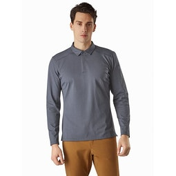 Captive Polo Shirt LS Cinder Front View