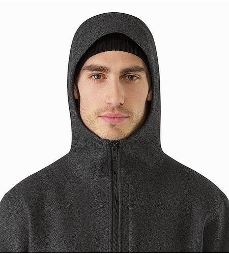 Cordova Jacket Black Heather Hood Front View