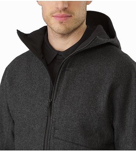 コルドバ ジャケット ブラック ヘザー 襟を開けた状態