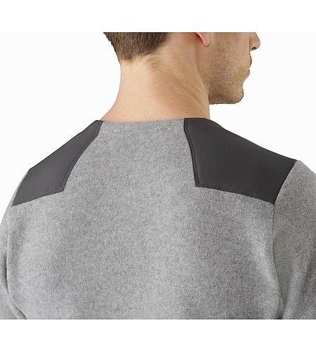 Donavan Crew Neck Sweater Light Grey Heather Back Collar
