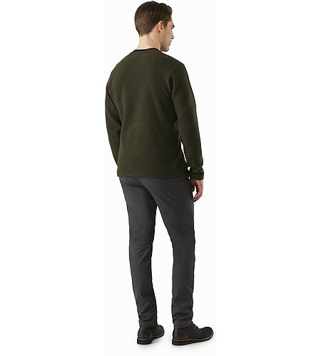 Donavan V-Neck Sweater Dark Moss Heather Back View