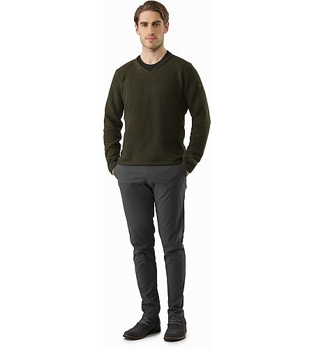 Donavan V-Neck Sweater Dark Moss Heather Front View