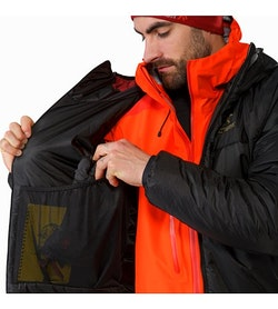 Dually Belay Parka Black Left Internal Dump Pocket