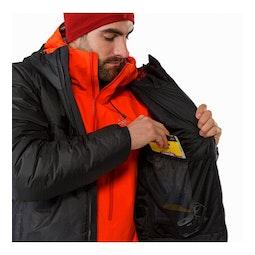 Dually Belay Parka Black Right Internal Dump Pocket