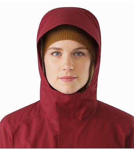 Durant Coat Women's Scarlet Hood Front View