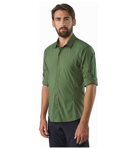Elaho Shirt LS Cypress Rolled Up Sleeves