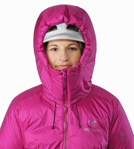 Firebee AR Parka Women's Violet Wine Helmet Compatible Hood Front View