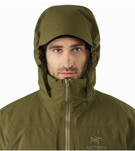 Fission SV Jacket Dark Moss Hood Front View