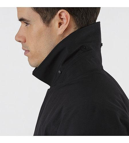 Galvanic Down Coat Black Collar Detail