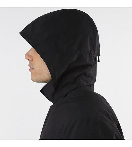 Galvanic Down Coat Black Hood Side View