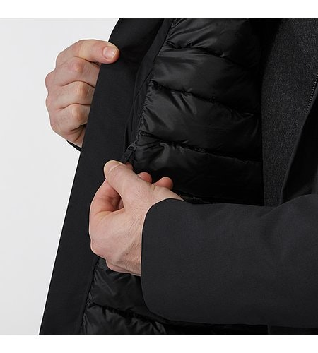 Galvanic Down Coat Black Internal Wallet Pocket