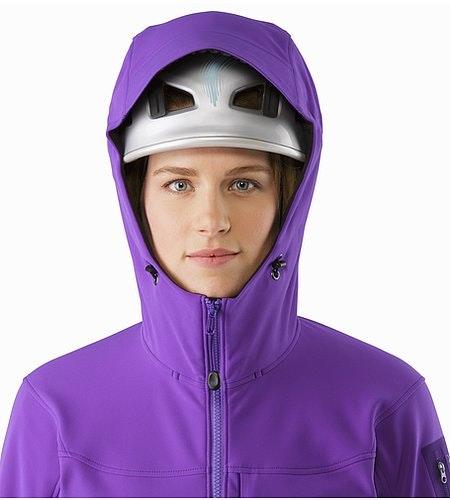 Gamma MX Hoody Women's Dahlia Helmet Compatible Hood Front View 2