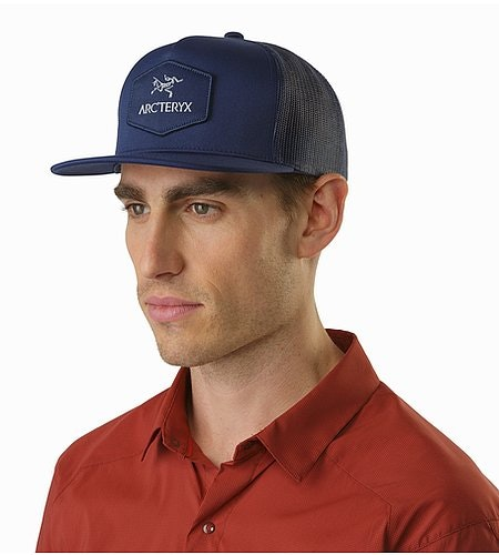 Hexagonal Patch Trucker Hat Midnight Front View