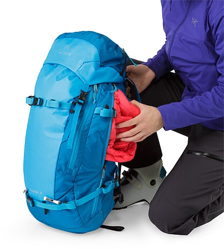 Khamski 31 Backpack Ionian Blue Side Access Zipper