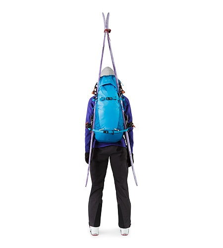 Khamski 31 Backpack Ionian Blue Skis Attached A Frame