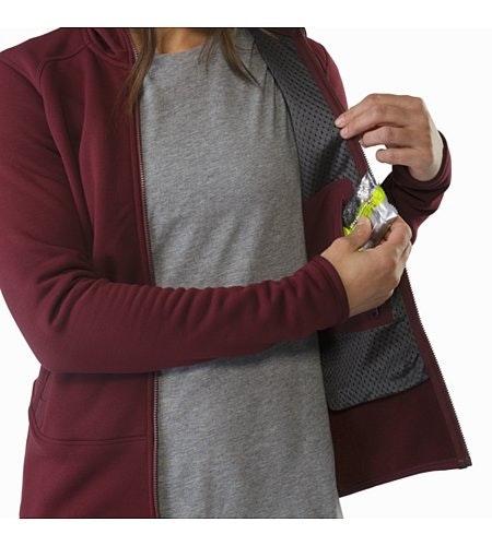 Manteau à capuchon Kyanite Femme Crimson Poche de sécurité intérieure