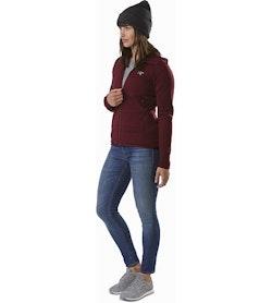 Chaqueta con capucha Kyanite para mujer Crimson: Vista lateral