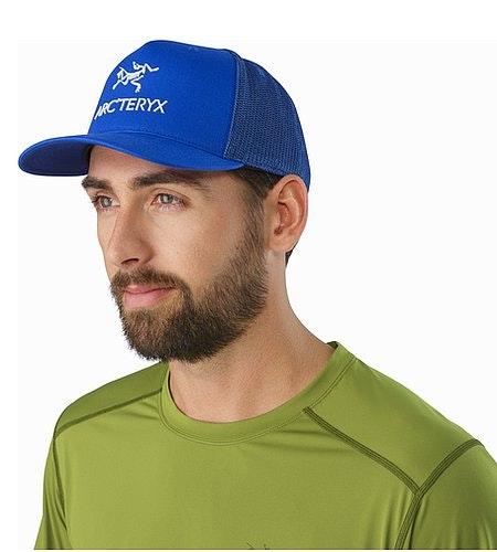 Logo Trucker Hat Deja Blue Front View