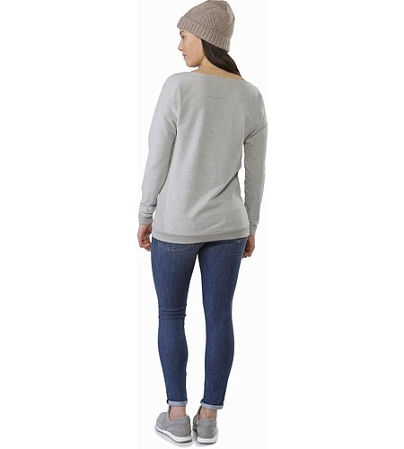 Mini-Bird Sweatshirt Women's Light Grey Heather Back View