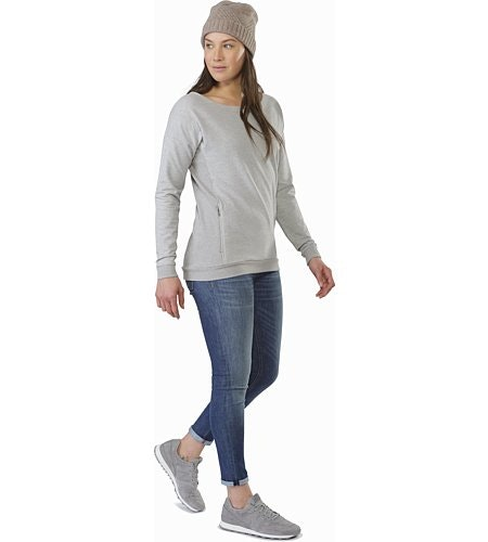 Mini-Bird Sweatshirt Women's Light Grey Heather Front View
