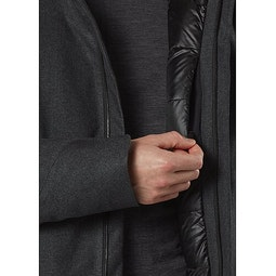 Monitor Down TW Coat Charcoal Htr Internal Security Pocket