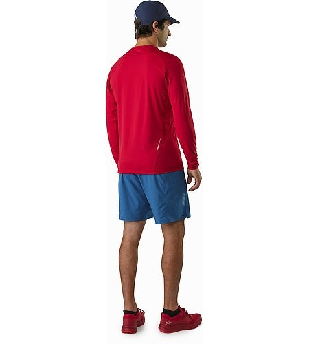 Motus Crew Neck Shirt LS Red Beach Back View