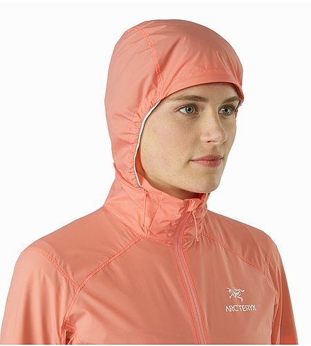 Nodin Jacket Women's Lamium Pink Hood Front View