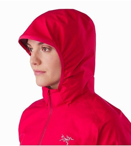 Norvan Jacket Women's Radicchio Hood Front View