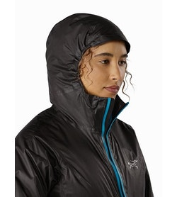 Norvan SL Insulated Hoody Women's Black Dark Firoza Hood