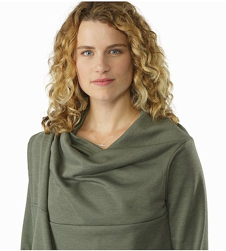 Nyara Wrap Women's Shorepine Heather Collar Detail 2