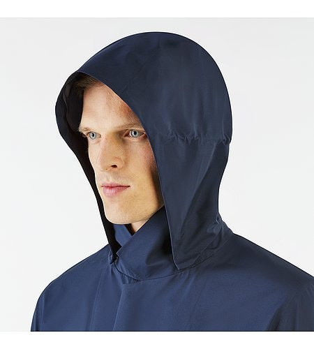 Partition LT Coat Dark Navy Hood Side View