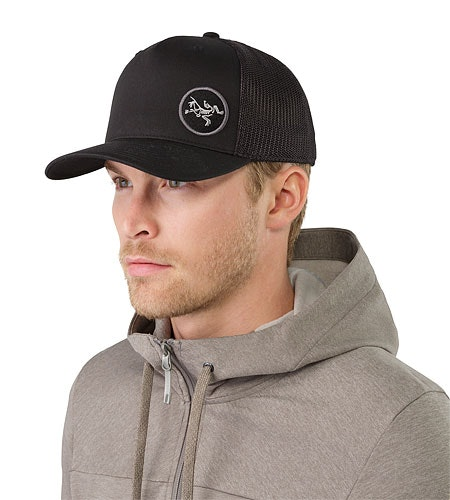 Patch Trucker Hat Black Front View