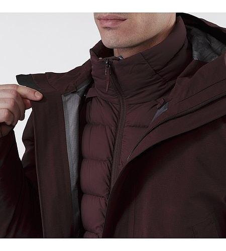 Patrol Down Coat Maroon Collar Detail