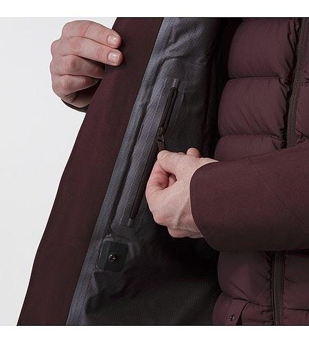 Patrol Down Coat Maroon Internal Wallet Pocket