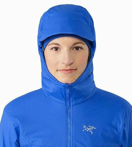 Procline Hybrid Hoody Women's Island Blue Hood Front View