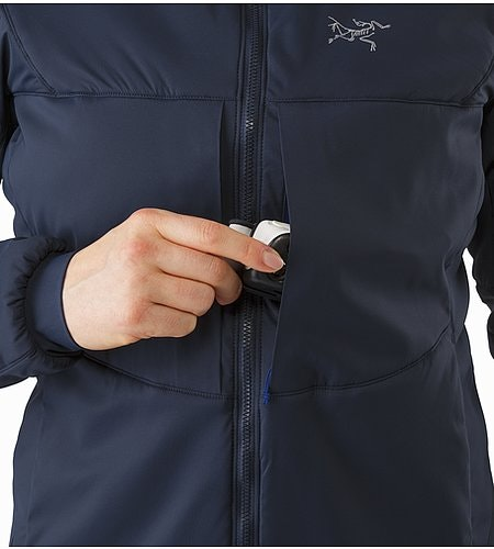 Proton AR Hoody Women's Black Sapphire Chest Pocket