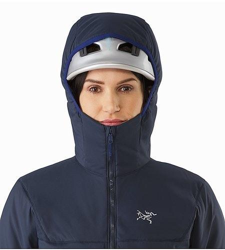 Proton AR Hoody Women's Black Sapphire Helmet Compatible Hood Front View