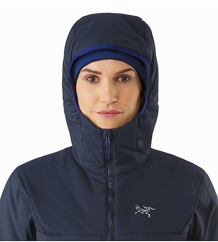 Proton AR Hoody Women's Black Sapphire Hood Front View
