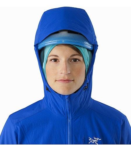 Psiphon FL Hoody Women's Somerset Blue Helmet Compatible Hood Front View