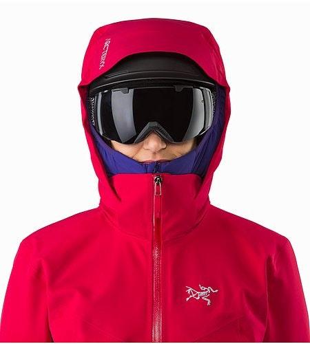 Ravenna Jacket Women's Radicchio Helmet Compatible Hood Front View