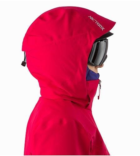 Ravenna Jacket Women's Radicchio Helmet Compatible Hood Side View