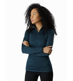 Rho AR Zip Neck Women's Labyrinth Front View