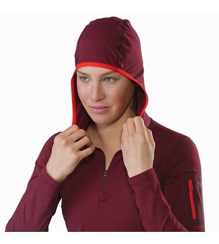 Rho LT Hooded Zip Neck Women's Merbau Hood Up
