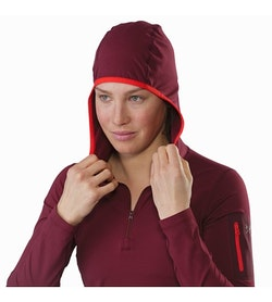 Rho LT Hooded Zip Neck Women's Merbau Hood Up